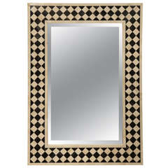 21st c bone and horn mirror in white and black