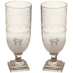 21st century pair glass etched candlesticks
