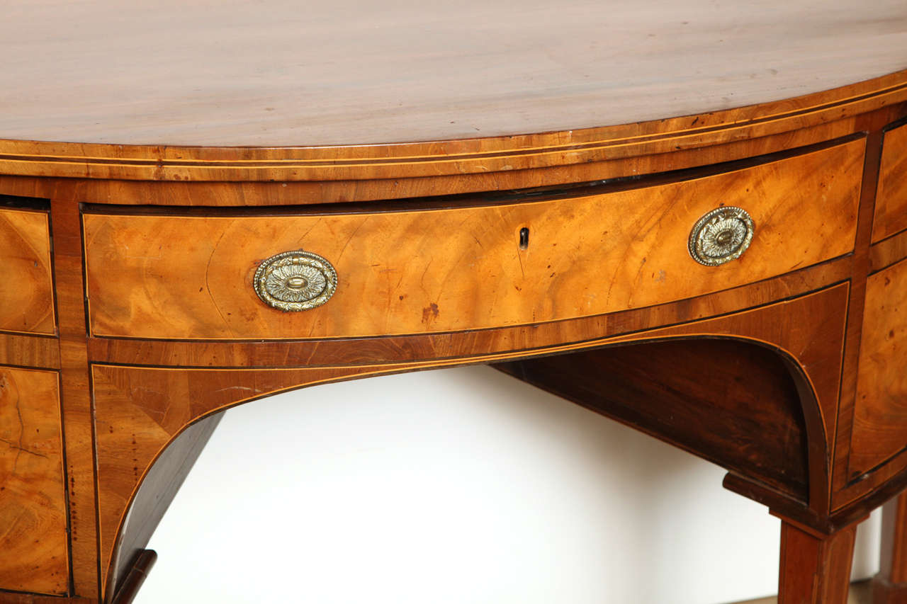 British 18th Century English, Satinwood Demi-Lune Serving Table Circa 1790 For Sale