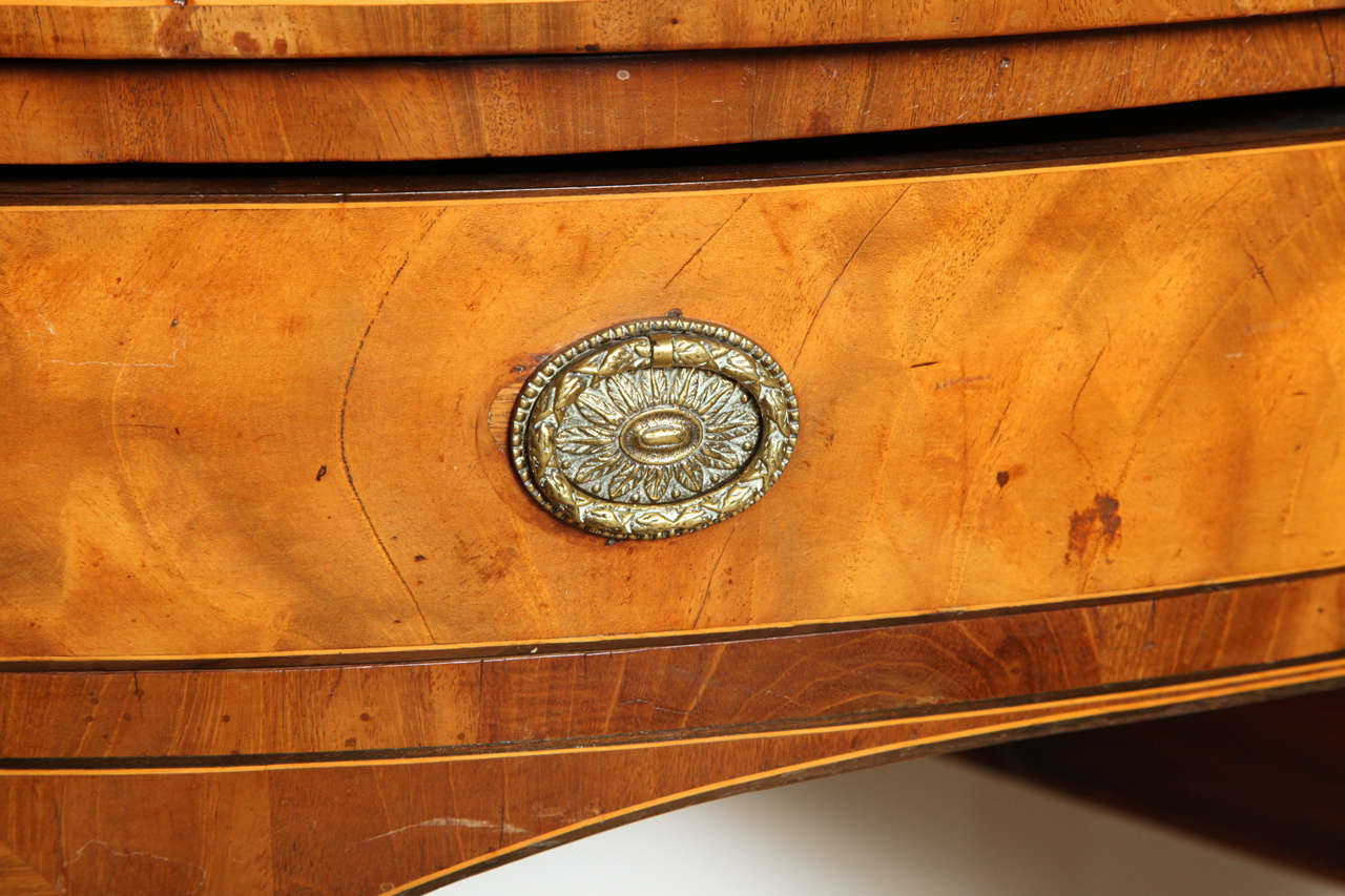 18th Century English, Satinwood Demi-Lune Serving Table Circa 1790 For Sale 1