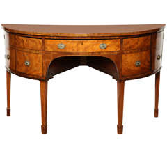 18th Century English, Satinwood Demi-Lune Serving Table Circa 1790