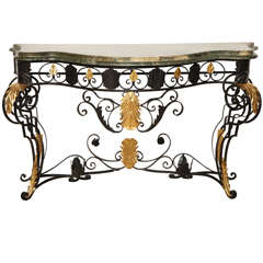 Iron, Painted and Gilded Console