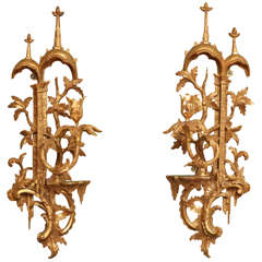 Antique Chippendale Period Gilt Wood Wall Lights, C.1755