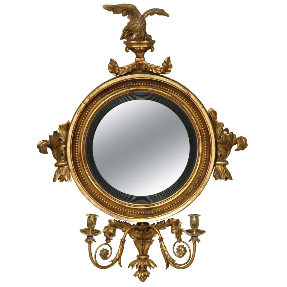 Antique regency giltwood convex mirror english at for Convex mirror for home