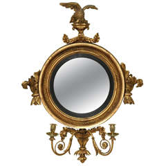 Antique Regency Giltwood Convex Mirror, English c.1810