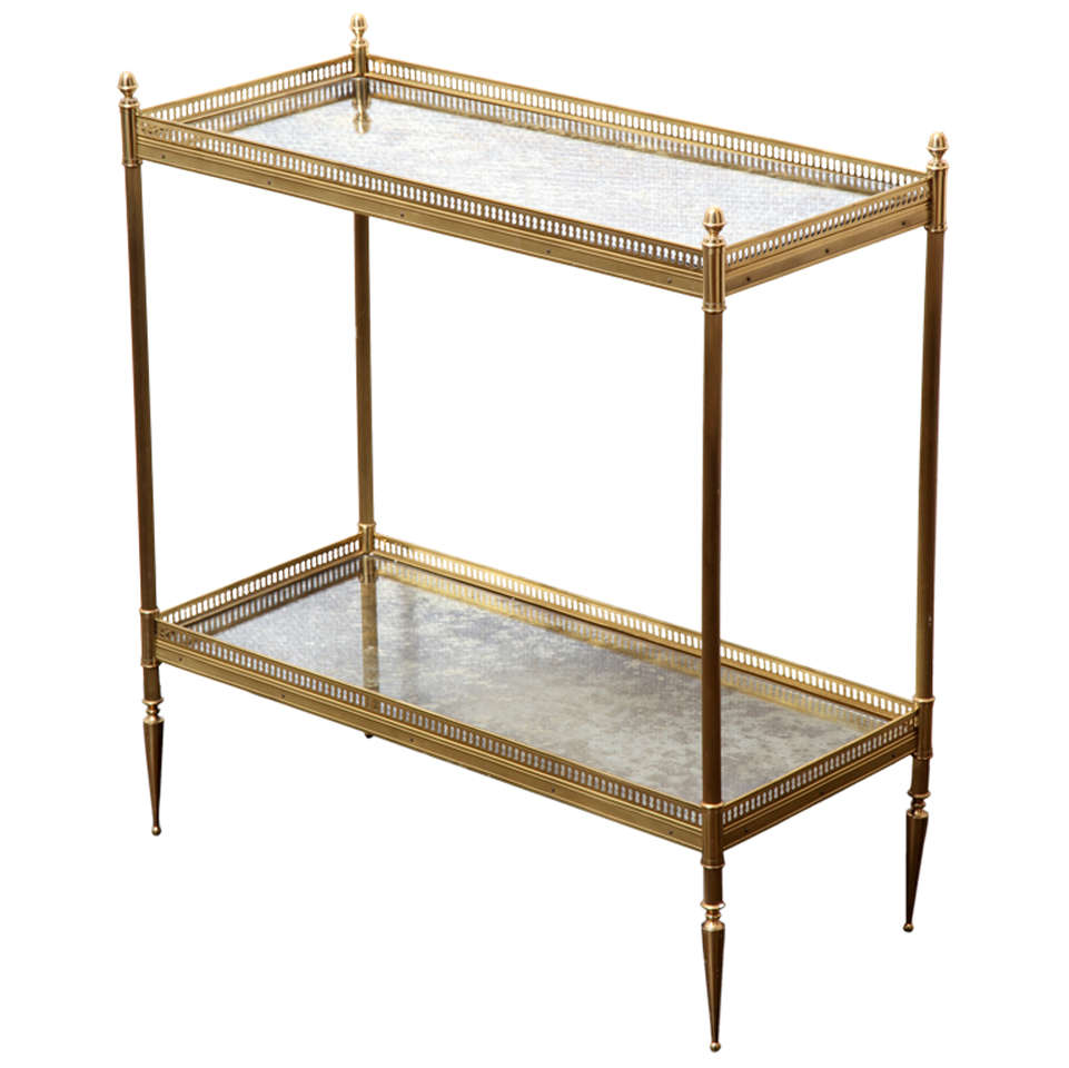 a brass and smoked mirror 2 tier etagere table france