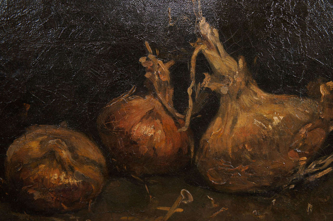 19th century impressionist painting of onions by an unknown artist at 1stdibs - Unknown uses for an onion ...