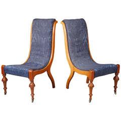 Pair of Danish 19th Century Walnut Slipper Chairs