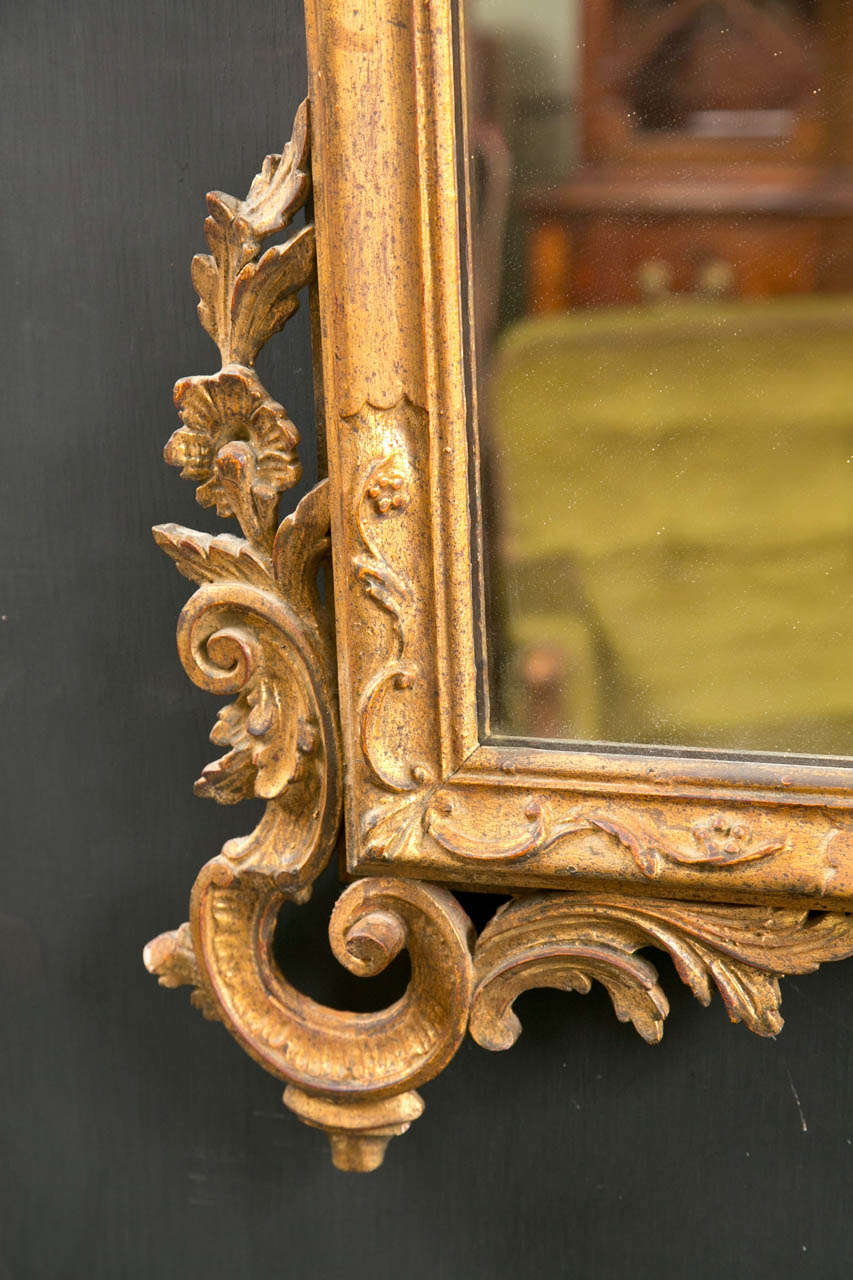 Italian Gilt Carved Wall Mirror In Good Condition For Sale In Stamford, CT