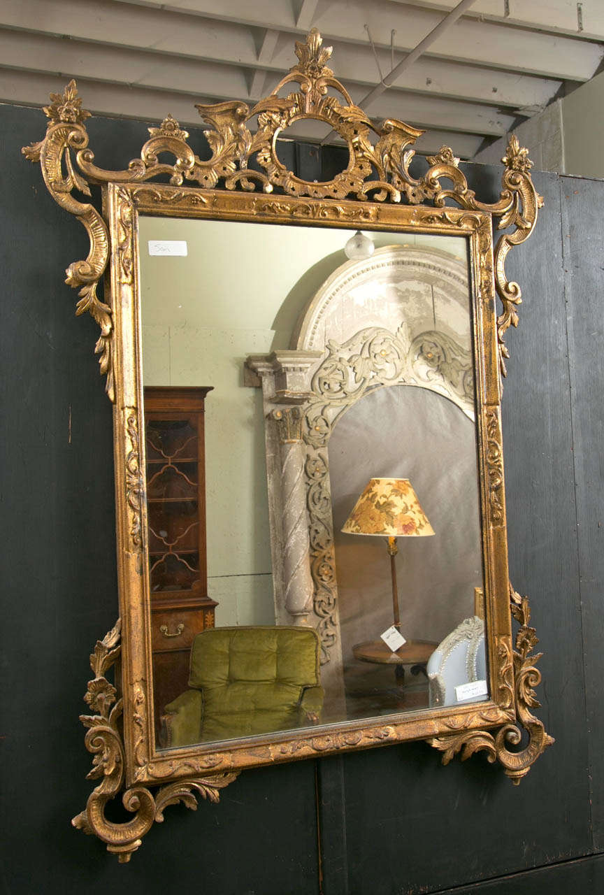 Italian Gilt Carved Wall Mirror For Sale 1