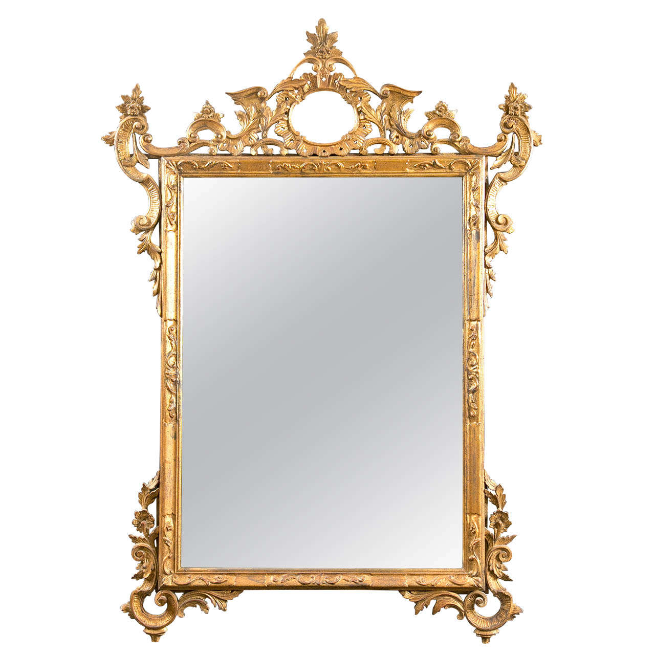 Italian Gilt Carved Wall Mirror For Sale