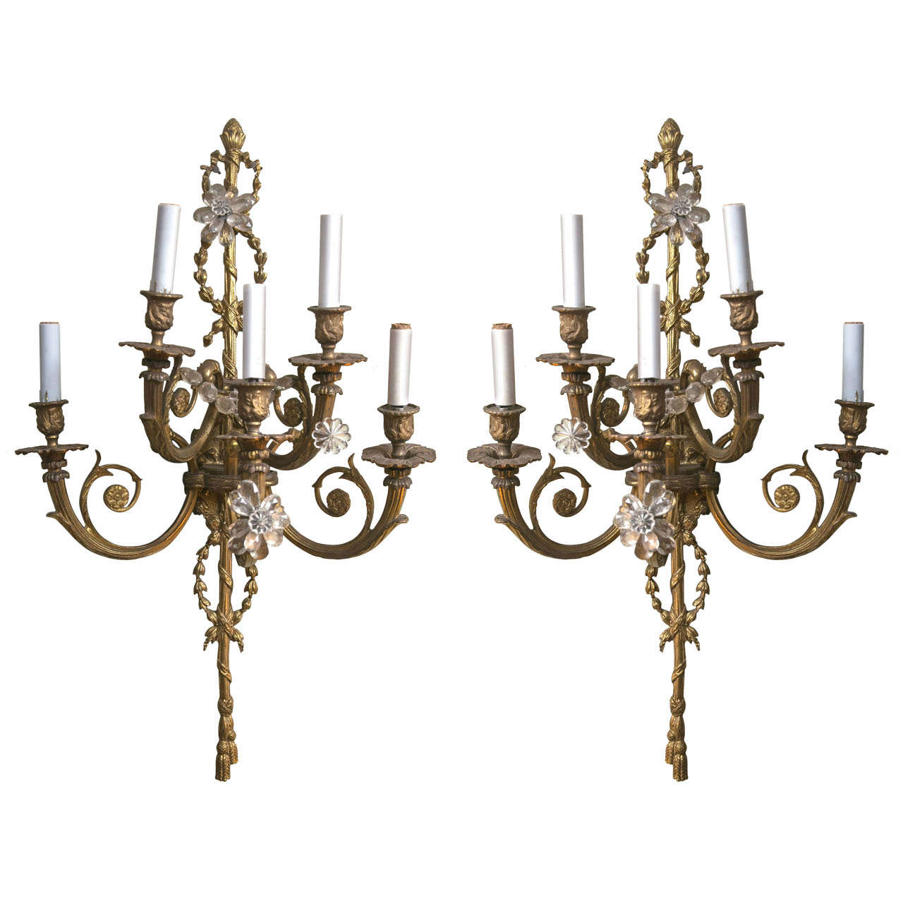 Pair of Bronze and Crystal Belle Epoch Beaded Sconces