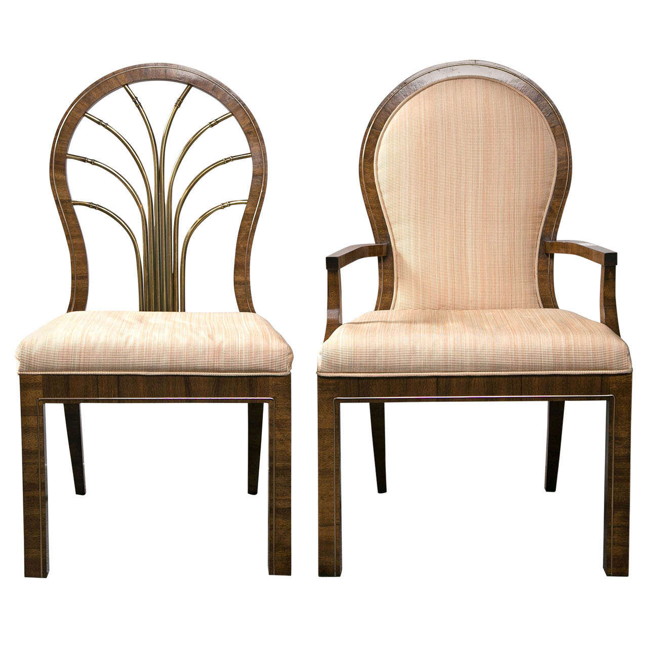 Set of Six Mastercraft Art Deco Dining Chairs With Brass Back Splats