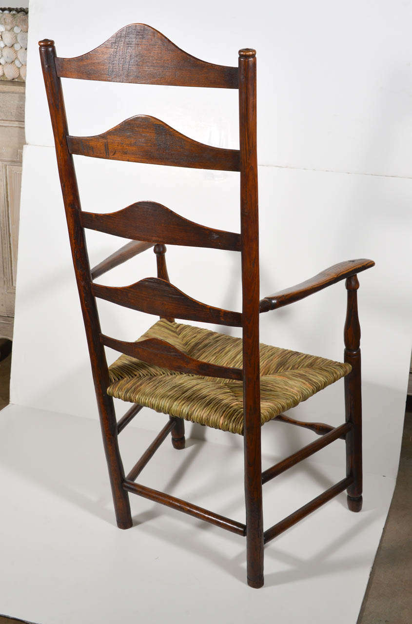 18 Th C Windsor Ladder Back Chair With Rush Seat At 1stdibs