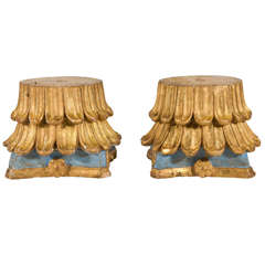 18th Century Pair of Carved Gilt and Painted Capitals