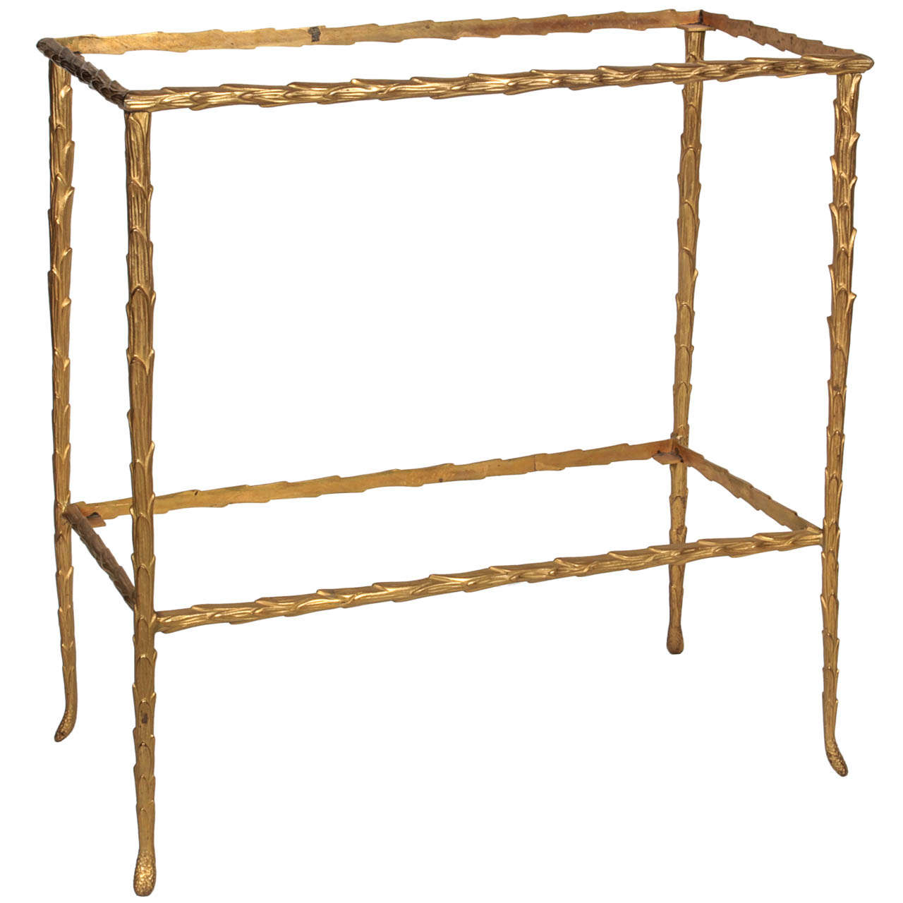 Bronze Faux Bamboo Small Table Attributed To Bagues 1
