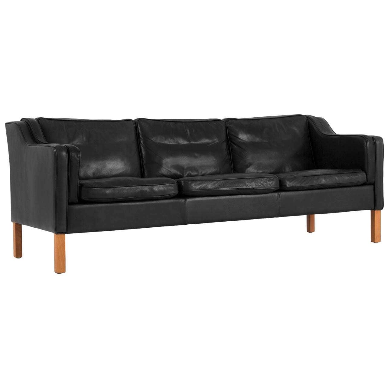 Danish Black Leather Sofa For Sale At 1stdibs