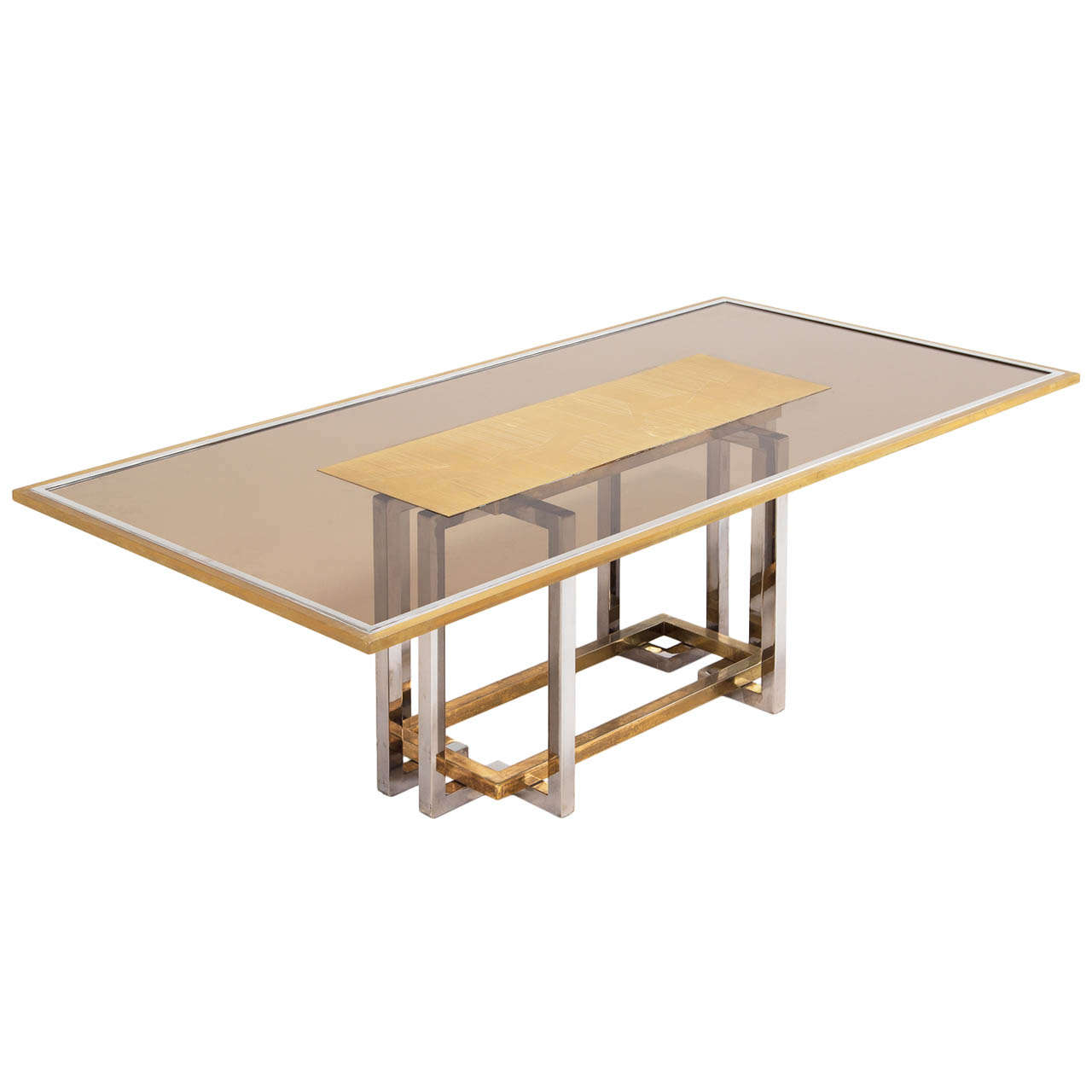 Italian chrome and brass dining table with elegant glass for Fancy glass dining table