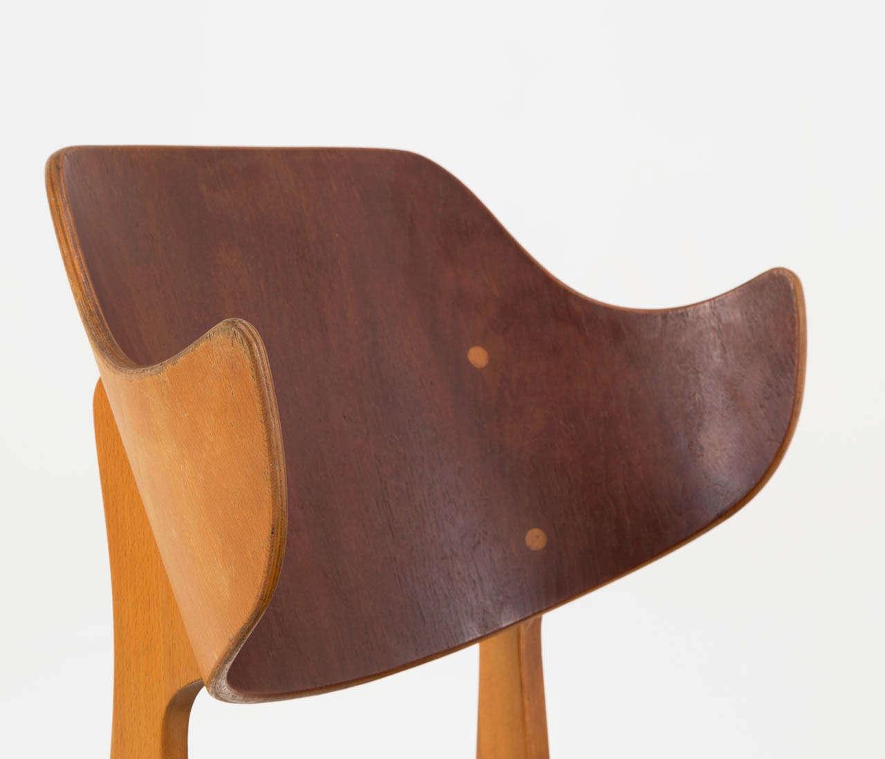 Beech Pair of Plywood Lounge Chairs by Ib Kofod-Larsen