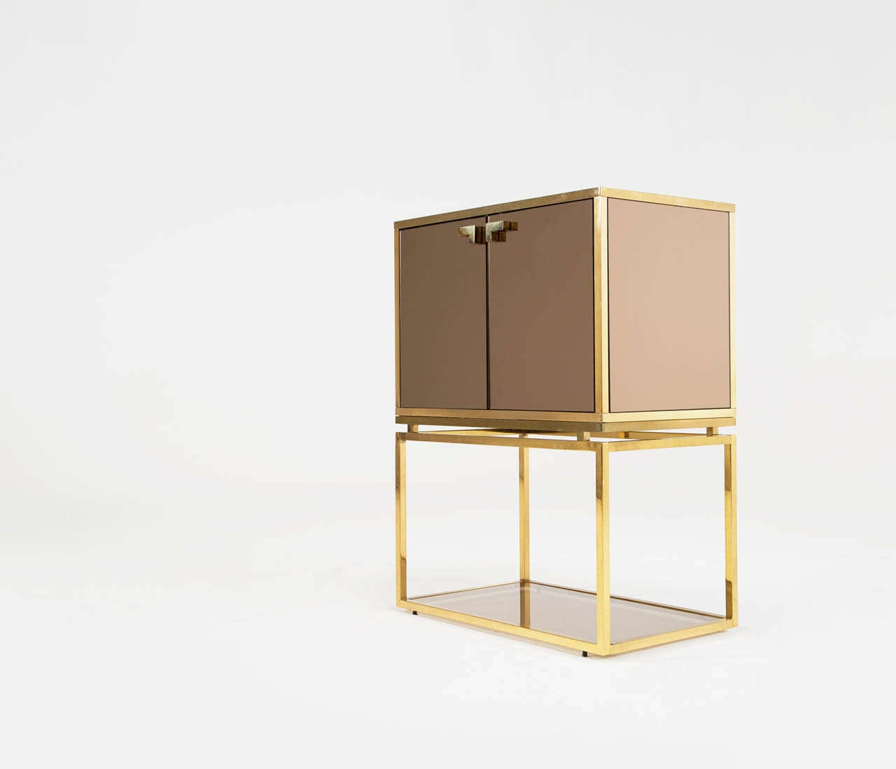 Brass and tinted glass dry bar at 1stdibs for Home dry bar furniture