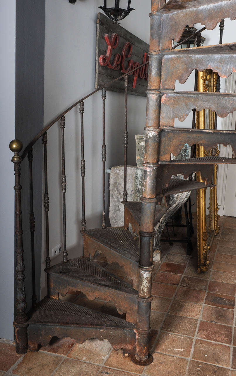 French An Antique Industrial Cast Iron Spiral Staircase For Sale