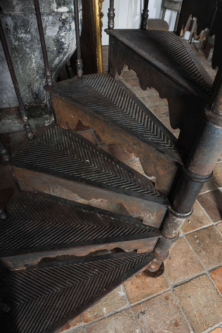 An antique industrial cast iron spiral staircase at stdibs