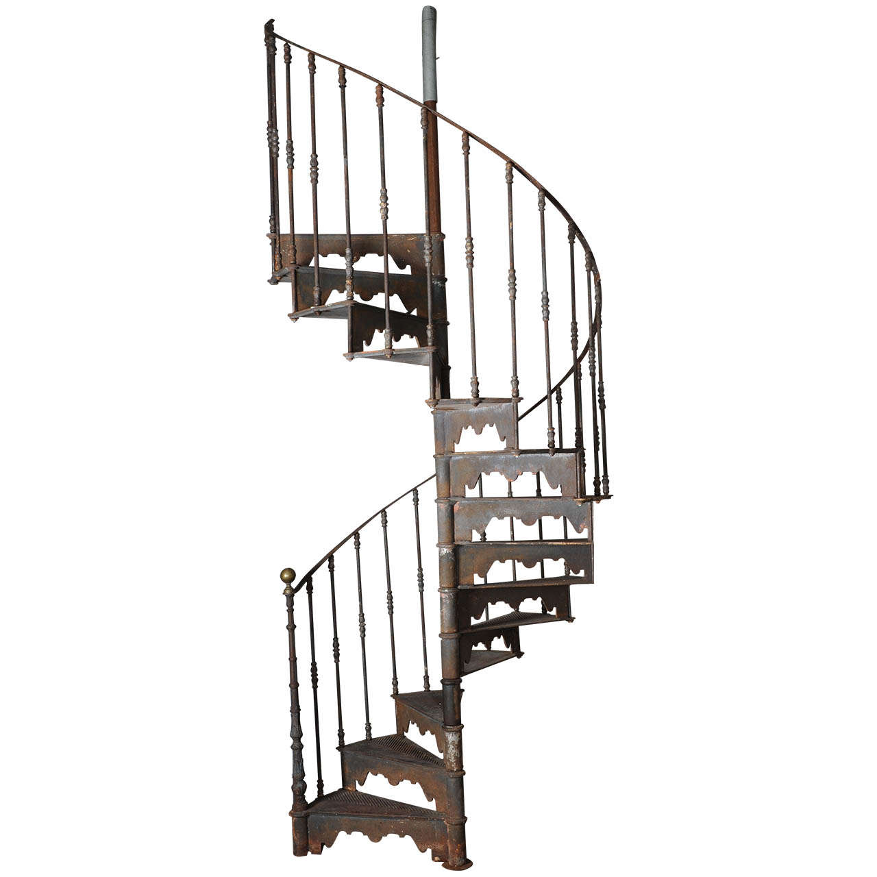 Superbe An Antique Industrial Cast Iron Spiral Staircase For Sale