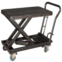 Industrial Wrought Iron, Polished Steel Scissor Table