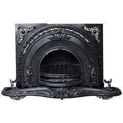 Polished Cast and Wrought Iron Victorian Fireplace, Steampunk Look