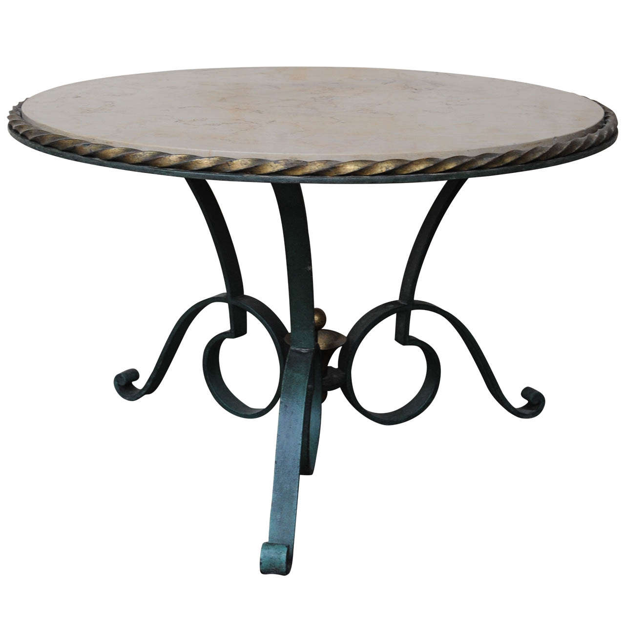 Round Wrought Iron Coffee Table By Robert Merceris At 1stdibs
