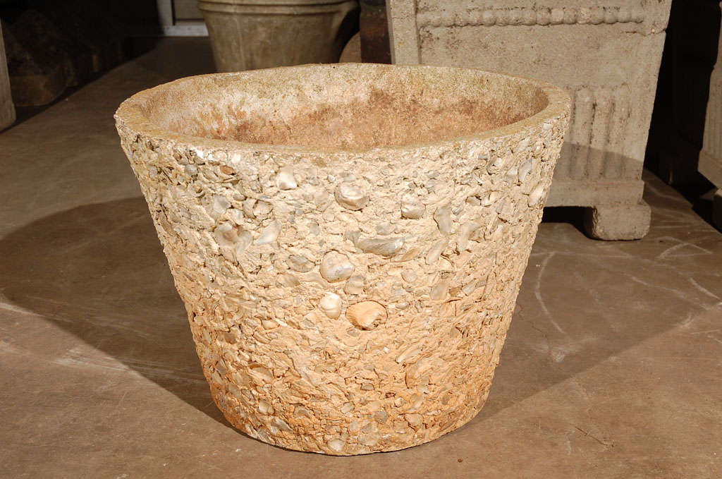 Mid Century Concrete And Shell Planter At 1stdibs