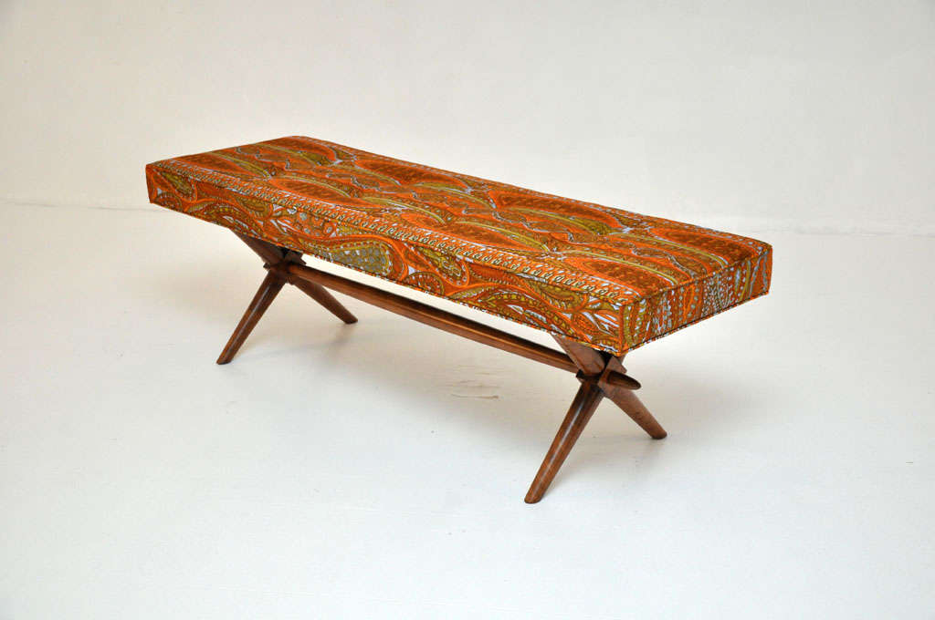 "X-base bench designed by T.H. Robsjohn-Gibbings for Widdicomb.  Newly upholstered in ""Laristan"" fabric by Jack Lenor Larsen."
