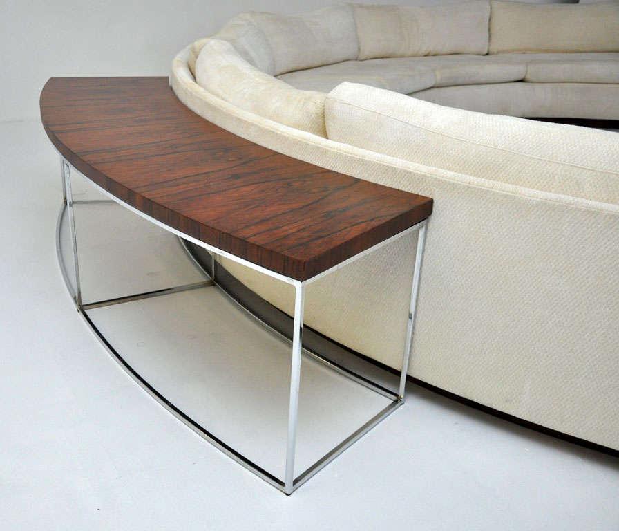 Wood Milo Baughman Semi Circle Sofa W/ Console Table For Sale