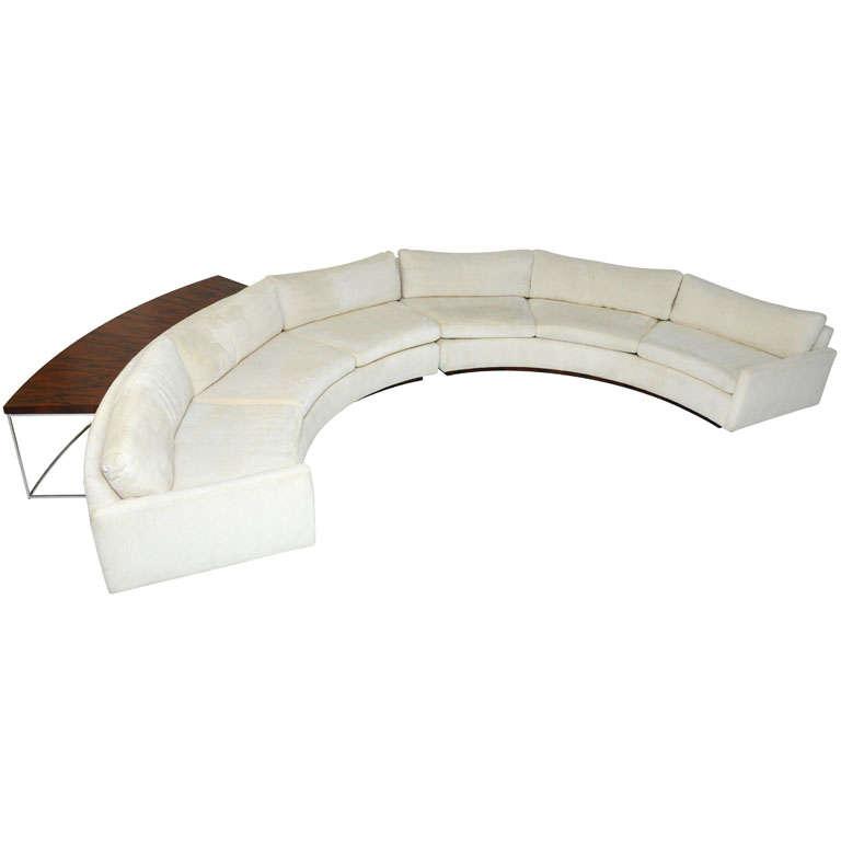 Milo Baughman semi-circle sofa w/ console table 1 - Milo Baughman Semi-circle Sofa W/ Console Table At 1stdibs