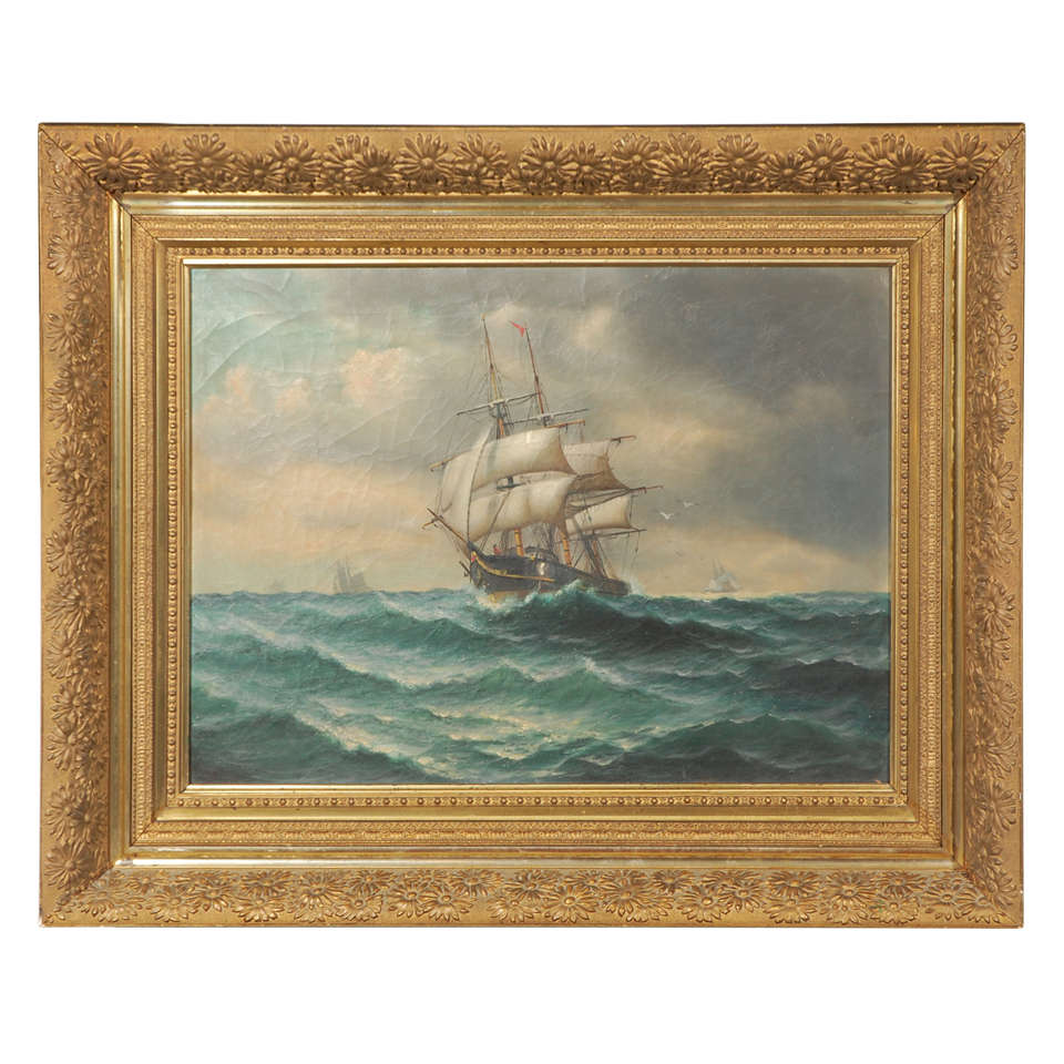 19th Century Signed American Oil Painting of a Ship at Sea