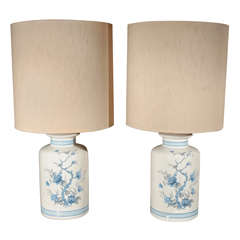 Pair Of Ceramic Painted Table Lamps.