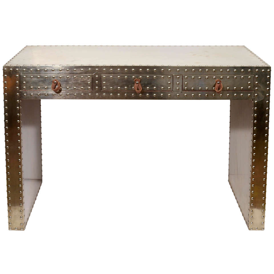 Indian Pressed Metal Studded Console Or Desk At 1stdibs