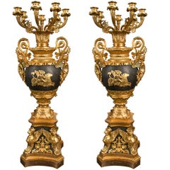 Pair Empire Style 7 Light Gilded Bronze Candleabra