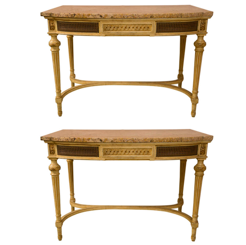 Pair Louis XVI Style Marble Top Painted Consoles At 1stdibs