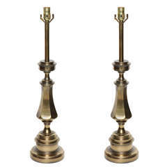 Pair of Stiffel Turned Brass Candlestick Table Lamps