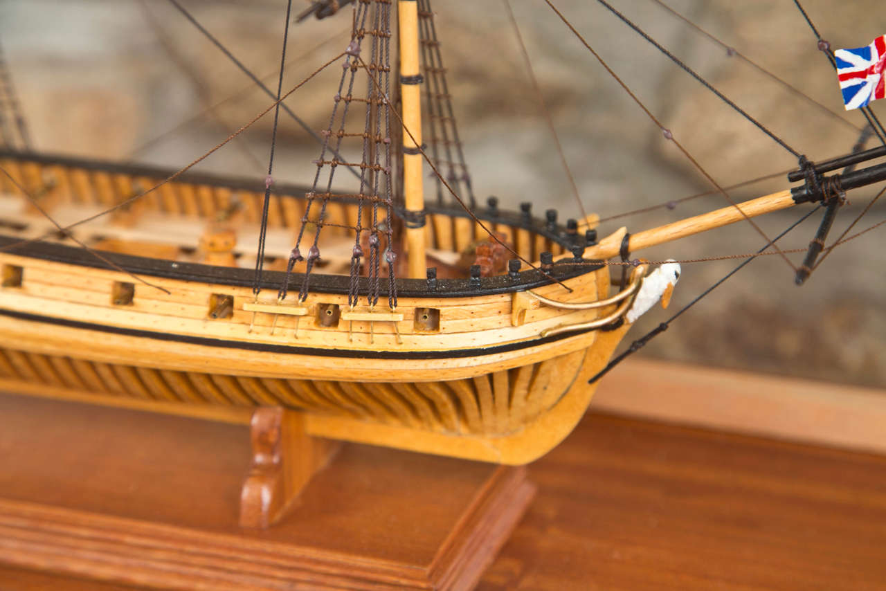 Handmade Plank on Frame Ship Model, H.M.S. Pelican For Sale at 1stdibs
