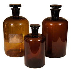 Amber Apothecary Jars from France