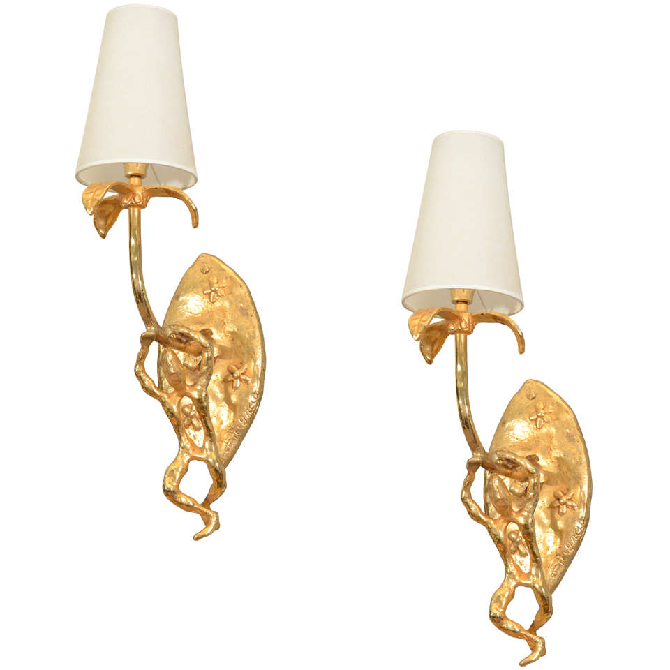 Bronze Sconces, Signed J. Hignay For Sale
