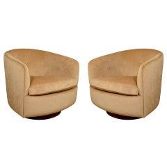 Pair of Swivel Lounge Chairs on Walnut Base