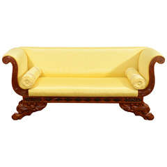 Diminutive Chinese Export Upholstered Childs Sofa with Paw Feet