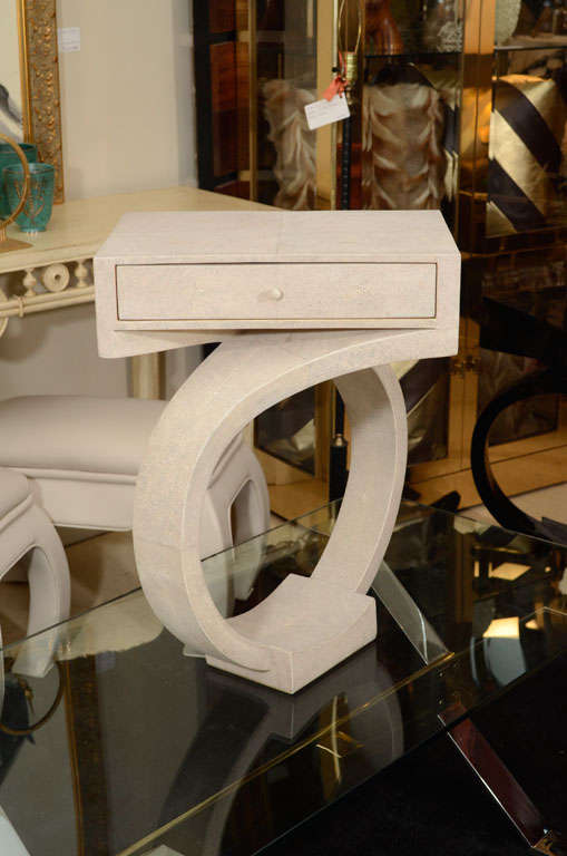 Pair of elegant, Art Deco style side tables or nightstands made of shagreen. Cream color, France, circa 1980.