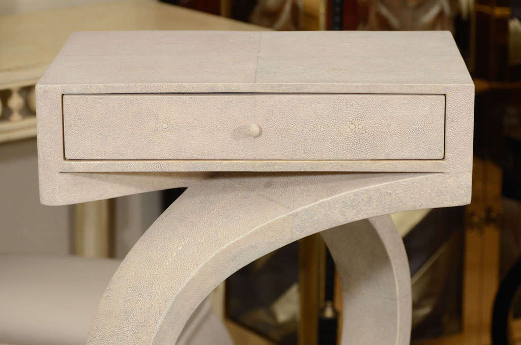 French Shagreen Side Tables or Nightstands For Sale