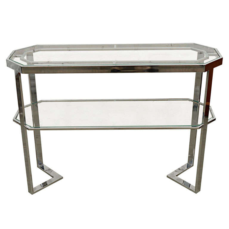 Chrome and Glass Console Table in the Manner of Milo Baughman For