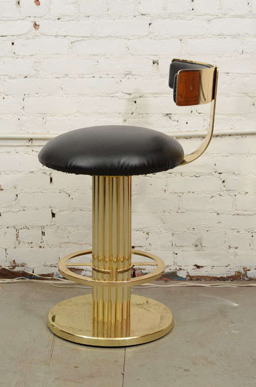 Set Of Three Brass Counter Height Stools At 1stdibs