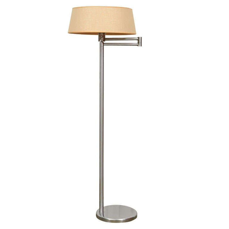 Nessen swing arm floor lamp at 1stdibs for Swing arm floor lamp wood